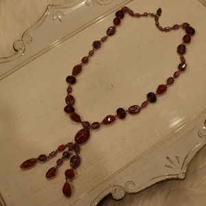 Coldwater creek long glass bead red necklace